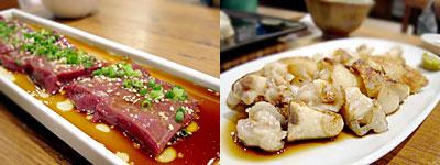 博多一口にら饅頭 一優亭:牛レバ刺、とろとろ豚足焼き