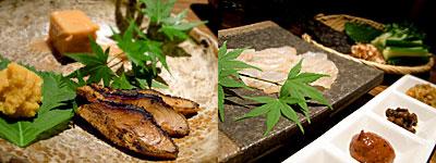 博多 あかちょこべ:お好きな珍味盛り合わせ3種、鮃(ひらめ)の昆布締め手巻きサラダ