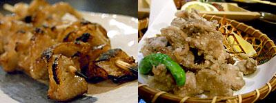 本格炭火焼・地酒 鳥蔵:鳥皮、砂ズリの唐揚げ