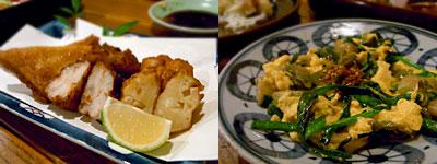 居酎屋 庵酎無作:さつま揚げ三種盛り、ニラとザーサイのふわふわたまご炒め