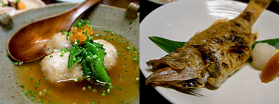 西中洲 しん進:里芋まんじゅう、赤むつの塩焼き