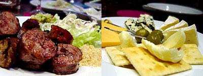 ブラジル料理 ドイスラゴス:ソーセージ、チーズ盛り合わせ