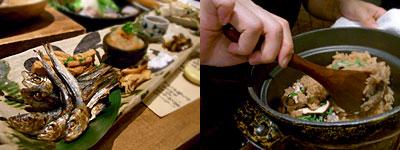 磯ぎよし(いさぎよし):自家製 珍味盛り合わせ、いいだこの釜飯