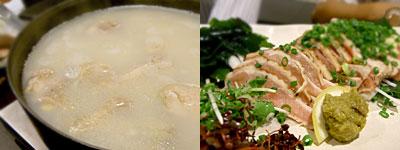 水炊き・鶏料理 はながき:水炊き、モモのたたき