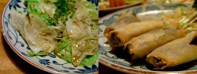 万作:釜揚げ餃子、豆春巻き