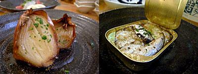 海鮮角打イタリアン じゃこくじら:玉葱のオーブン焼き、ガーリックオイルサーディン