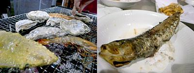 磯貝めんちゃんこのかきごや:大めざし、鮭かま、ホタテ、海老、さざえ、あさりホイル