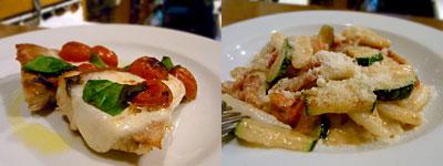 MACARONI(マカロニ):玄海産イサキのオーブン焼きカプリ風、カバテッリのベーコンとズッキーニのアーモンド風味