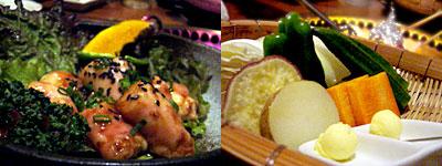 焼肉 北斎:丸腸と野菜たち