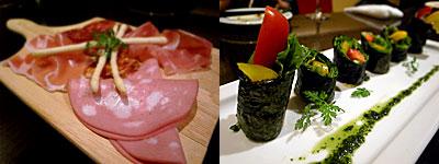 Vege Table(ベジテーブル):生ハムとサラミの盛り合わせ、野菜100%ベジタブル スシロール