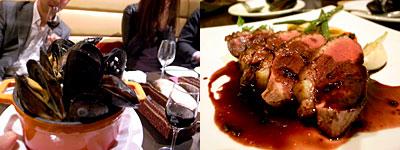 Vege Table(ベジテーブル):ぷりぷりムール貝の山盛りバケツ、仏産マグレ鴨のロースト カシスと赤ワインのソース