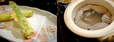 信州そば むらた:アスパラガスの天ぷら、そばがき
