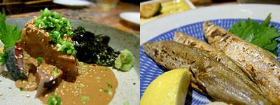 はすのうてな:胡麻さば、北海道天然ししゃも 塩焼き