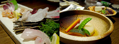 海鮮料理屋 兼平鮮魚店 舞鶴店:刺身盛り合わせ、野菜炊き合わせ