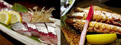 海鮮料理屋 兼平鮮鶴魚店 舞店:関鯖刺し、車海老塩焼き