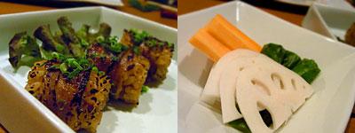 KINTSUTA 金蔦(きんつた):一口肉巻きご飯、ピクルス