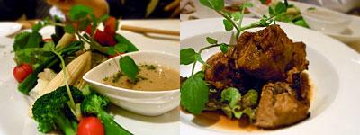 Cocosera(ココセラ):温野菜のバーニャカウダ、スペアリブのグリル