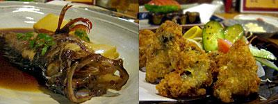 居酒屋 源:あらかぶの煮つけ、広島産生ガキのカキフライ