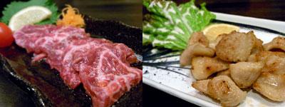 博多もつ鍋 良之助(よのすけ):牛ハラミ肉刺、豚トロ焼