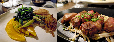 ビストロ鉄板 空と海:焼野菜、牛タンステーキ