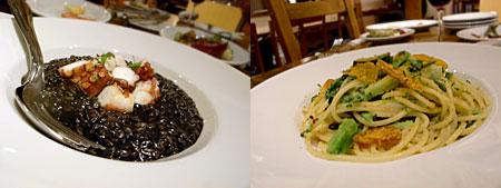 ピッコラ・フェリーチェ:タコの入ったイカスミリゾット、カラスミと緑野菜のペペロンチーノ