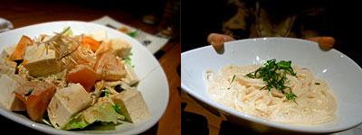 かやの家:沖縄島とうふと有機トマトのサラダ、明太クリームパスタ