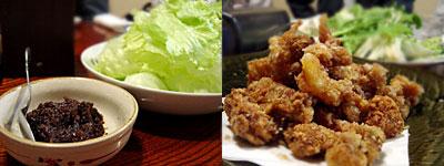 ぢどり屋 中洲本店:地鶏の肉みそレタス、地鶏からあげ