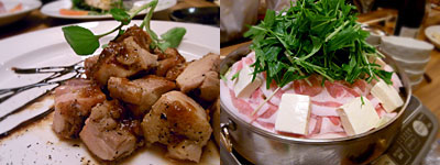博多 表邸(ひょうてい):地鶏のロースト、豚バラの鍋
