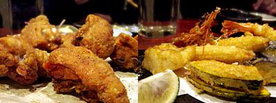 信 (のぶ):骨付き鶏ももの唐揚げ、天ぷら盛り合わせ