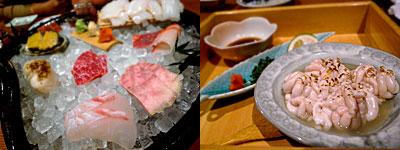 魚肉菜 春馬(はるま):お刺身盛り合わせ、白子