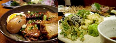 手羽先と卵の甘辛煮 と タラ白子の天ぷら