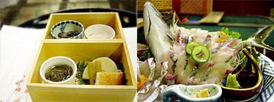 季節の物盛合せ と 天然活魚の活造り