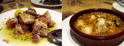 鶏肉のシェリー酒煮と、牡蠣チゲの土鍋焼