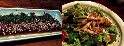 牛レバ刺し&棒々鶏サラダ
