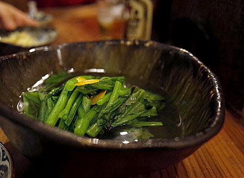 酒とめし 開放弦:春菊の出汁浸し