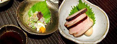 鯛のねぎポン酢&豚バラ肉とうずらの燻製