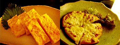 玉子焼き&キムチピザ