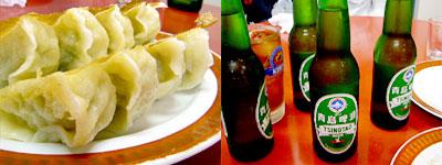 青島ビールと焼餃子で乾杯
