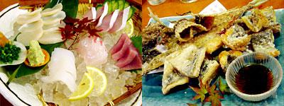 刺身とアジと太刀魚のから揚げ